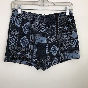 UO Ecote High Waist Shorts Size 0 Blue Tapestry